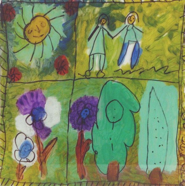 Dibujo de niños de la Fundación con flores arboles y personas