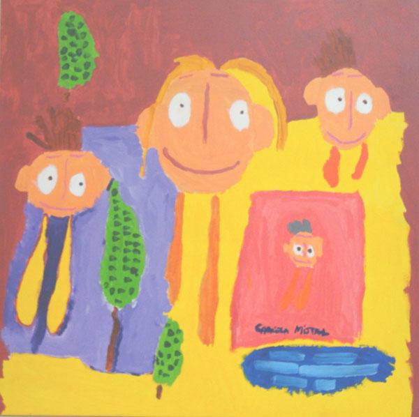 Dibujo de una familia de los niños de coanil